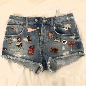 Zara patch denim shorts